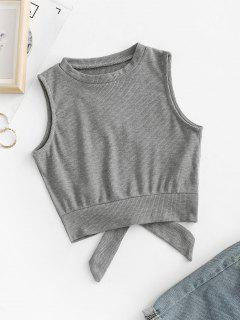 Overlap Knotted Crop Tank Top - Gray M
