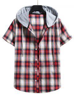 Plaid Print Short Sleeve Color Blocking Hooded Shirt - Lava Red Xl