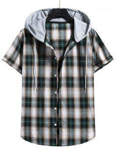 Plaid Print Short Sleeve Color Blocking Hooded Shirt - Dark Forest Green Xl