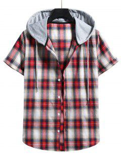 Plaid Print Short Sleeve Color Blocking Hooded Shirt - Lava Red M