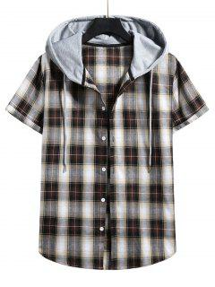 Plaid Print Short Sleeve Color Blocking Hooded Shirt - Wood L