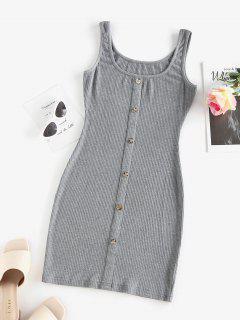 ZAFUL Ribbed Mock Button Bodycon Tank Dress - Gray Xl