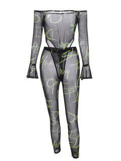 Letter Off Shoulder Mesh Bodysuit With Pants Set - Black M