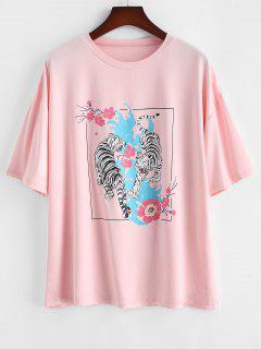 ZAFUL Plus Size Tiger Floral Graphic Tee - Light Pink Xl