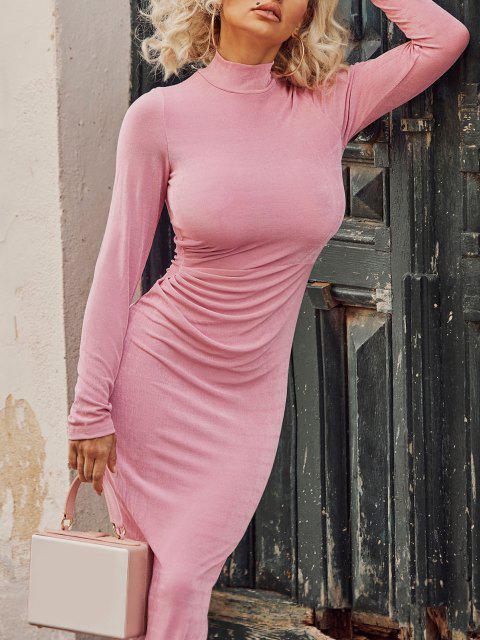new Draped Knitted Mock Neck Bodycon Tea Length Dress - LIGHT PINK M Mobile