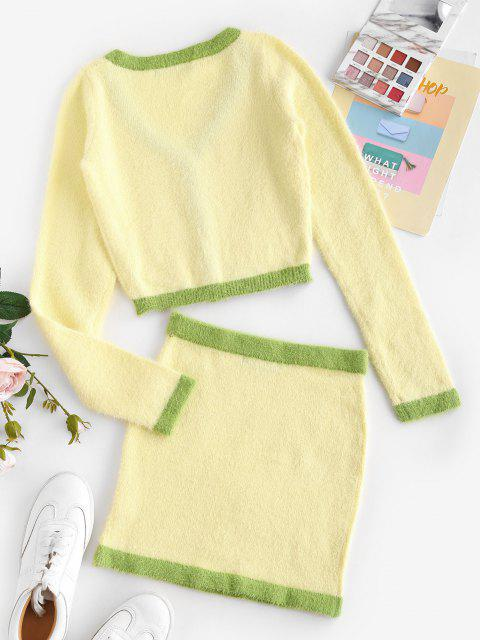 latest Patchwork Fuzzy Button Up Two Piece Dress - LIGHT YELLOW ONE SIZE Mobile