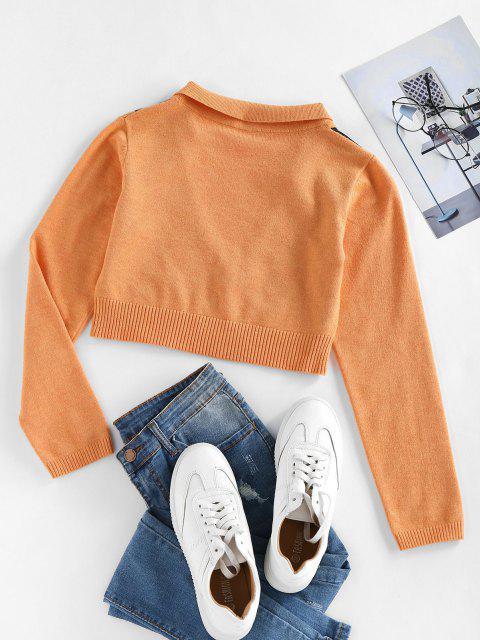 ZAFUL Tiefer Argyle Knit Zugeschnittes Sweatshirt - Orange L Mobile