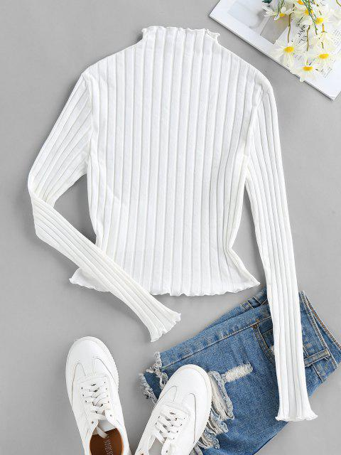 sale ZAFUL Lettuce Trim Ribbed Knit T Shirt - WHITE S Mobile