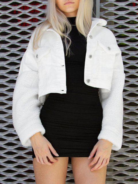 Jaqueta jeans com capuz mangas compridas Cortado - Branco S Mobile