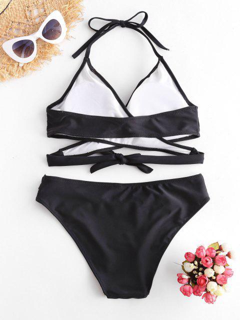 best ZAFUL Halter Cut Out Wrap Bikini Set - BLACK S Mobile