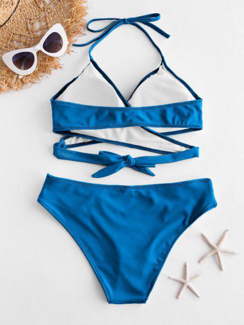 ZAFUL Bikini Set mit Neckholderausschnitt - Knallblau S Mobile