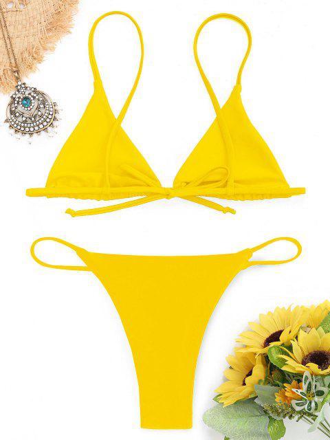 shops Bralette Thong String Bikini Set - YELLOW M Mobile