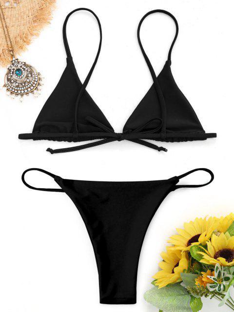 outfit Bralette Thong String Bikini Set - BLACK M Mobile