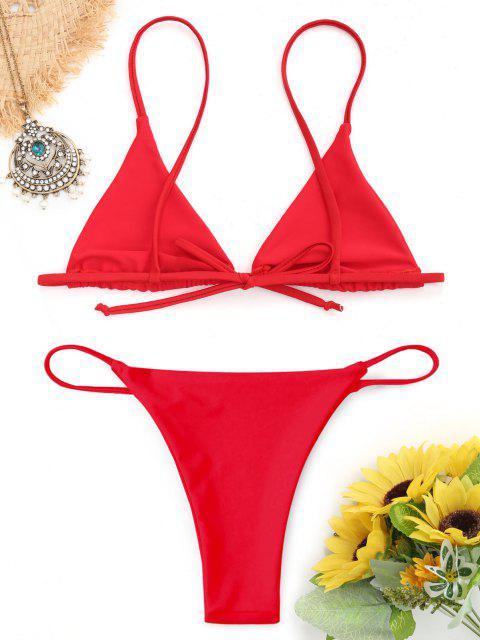 new Bralette Thong String Bikini Set - RED S Mobile