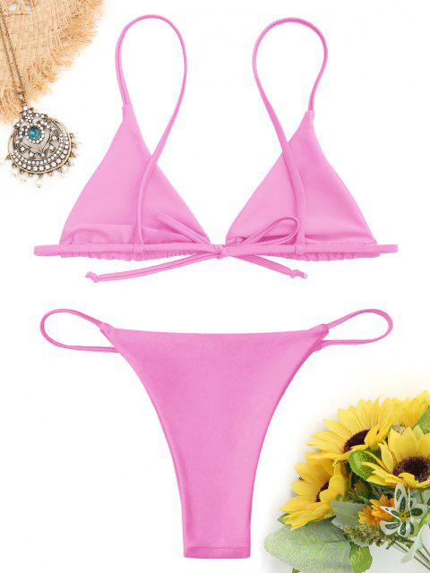 unique Bralette Thong String Bikini Set - PINK M Mobile