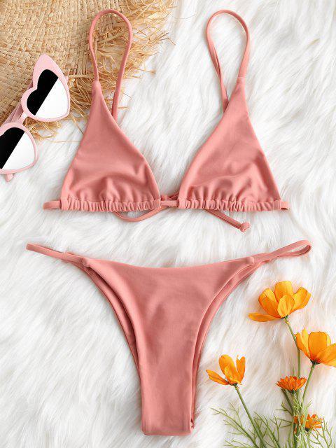 ladies Bralette Thong String Bikini Set - LIGHT PINK S Mobile