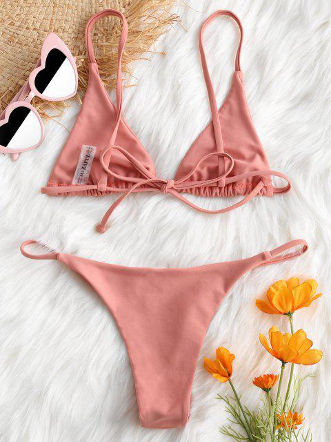 affordable Bralette Thong String Bikini Set - LIGHT PINK M Mobile