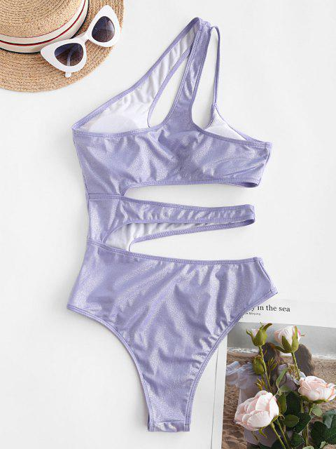 latest ZAFUL Shiny Cutout One Shoulder One-piece Swimsuit - PURPLE S Mobile