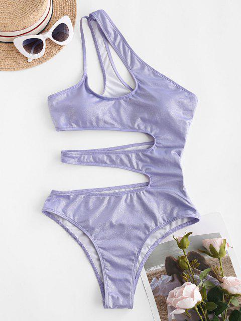 trendy ZAFUL Shiny Cutout One Shoulder One-piece Swimsuit - PURPLE M Mobile