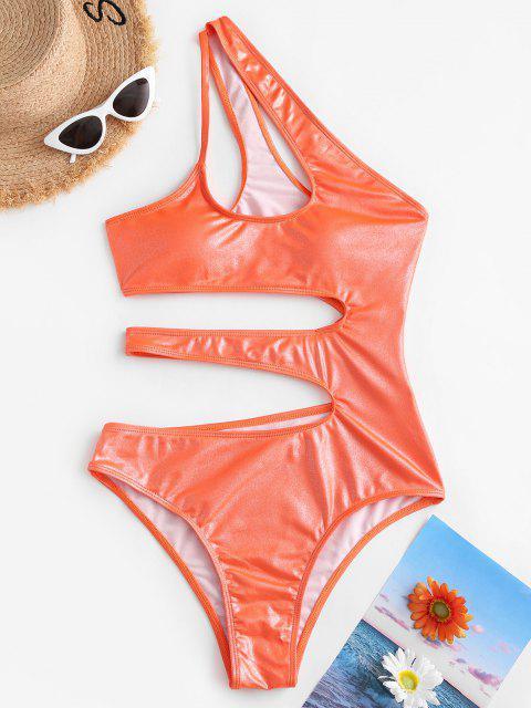 shops ZAFUL Shiny Cutout One Shoulder One-piece Swimsuit - ORANGE S Mobile