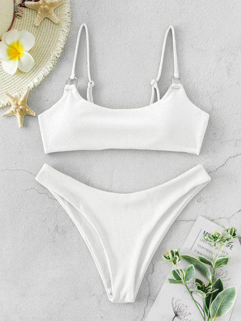 trendy ZAFUL Ribbed O Ring Bikini Set - WHITE L Mobile