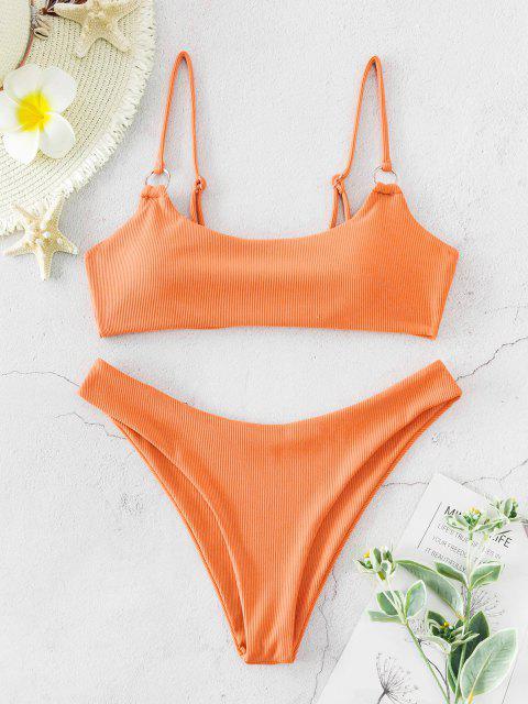 new ZAFUL Ribbed O Ring Bikini Set - ORANGE M Mobile