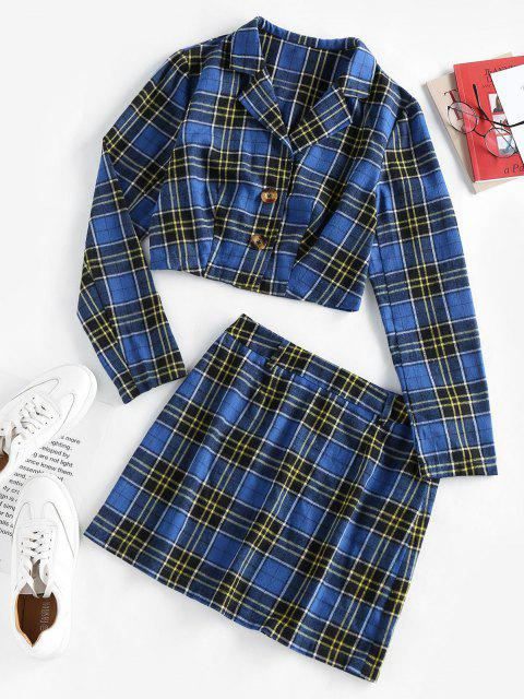 best ZAFUL Plaid Lapel Jacket Skirt Set - BLUE XL Mobile
