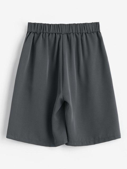 Jungenhafte Plissee Bermuda Shorts - Grau M Mobile