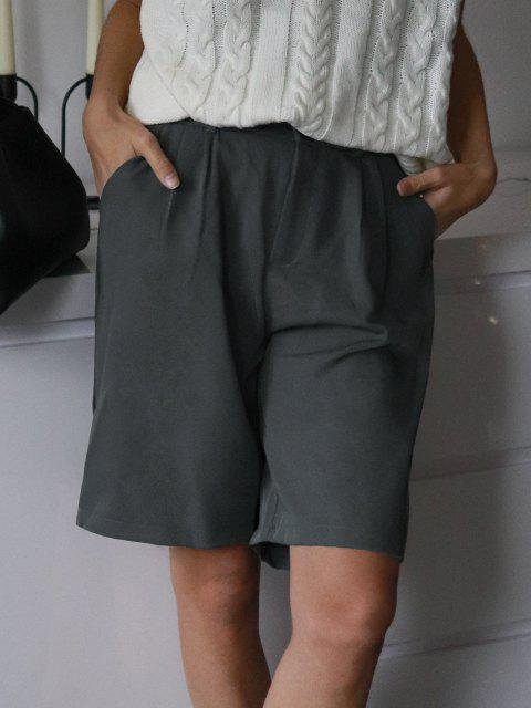 affordable Boyish Pleated Bermuda Shorts - GRAY 2XL Mobile