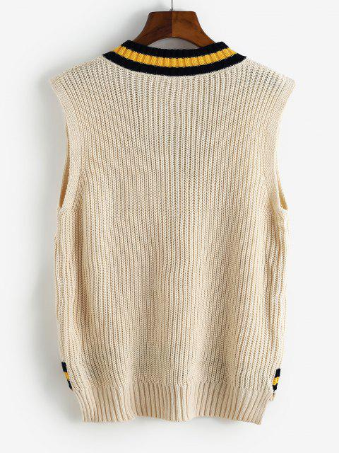 affordable Striped Letter Embroidered High Low Sweater Vest - LIGHT YELLOW ONE SIZE Mobile
