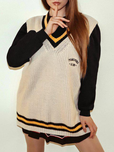 Striped Letter Embroidered High Low Sweater Vest - أصفر فاتح حجم واحد Mobile