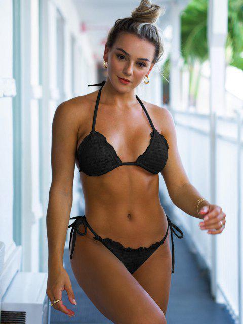 shops ZAFUL Halter Ribbed Smocked String Bikini Swimwear - BLACK S Mobile