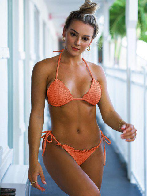 lady ZAFUL Halter Ribbed Smocked String Bikini Swimwear - ORANGE S Mobile