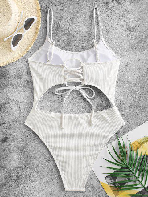 Costume Intero a Costine con Lacci di ZAFUL - Bianco S Mobile