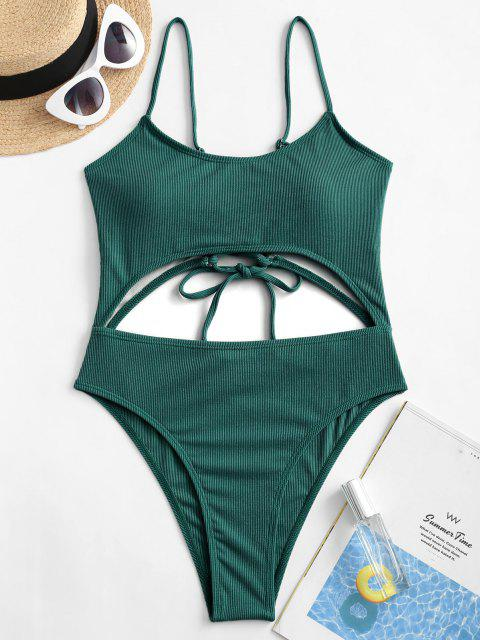 ZAFUL Lace-up Cutout Ribbed One-piece Swimsuit - الطاووس الأزرق M Mobile