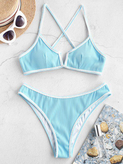 shops ZAFUL Whip Stitch V-wired Ribbed Bikini Swimsuit - TRON BLUE S Mobile