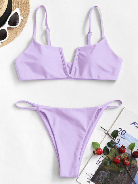 Costume da Bagno Bikini Reversibile con Scollo a V di ZAFUL - Viola chiaro S Mobile