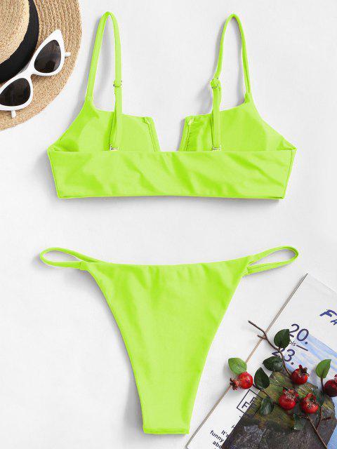 Costume da Bagno Bikini Reversibile con Scollo a V di ZAFUL - Verde M Mobile