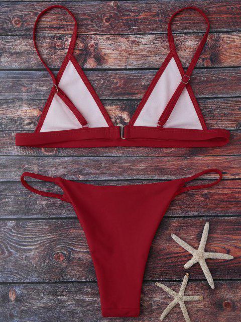Ensemble Bikini à Bretelles avec Décolleté Plongeant - Rouge L Mobile