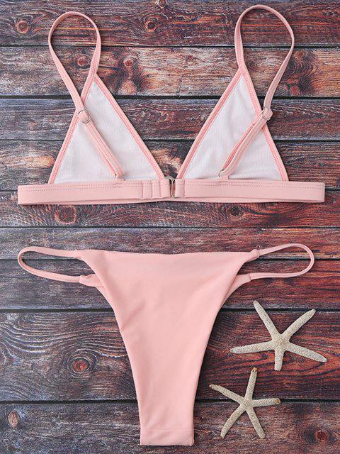 outfits Cami Plunge String Bikini Set - PINK L Mobile