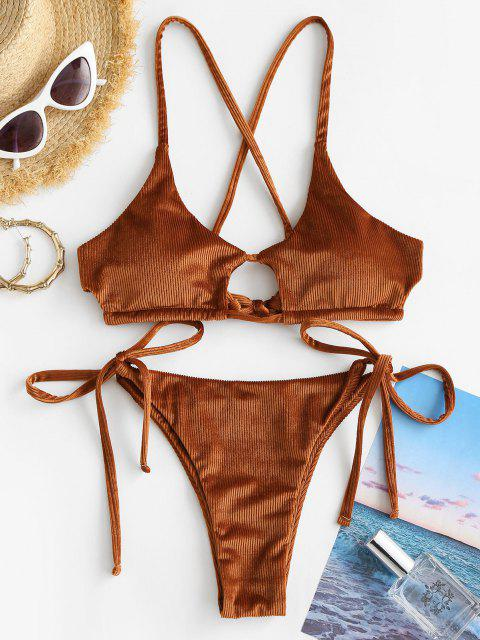 latest ZAFUL Ribbed Velvet Cutout String Bikini Swimwear - LIGHT BROWN S Mobile
