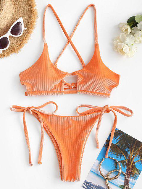 ZAFUL Bikini Badebekleidung mit Geripptem Samt - Dunkler Pfirsich S Mobile