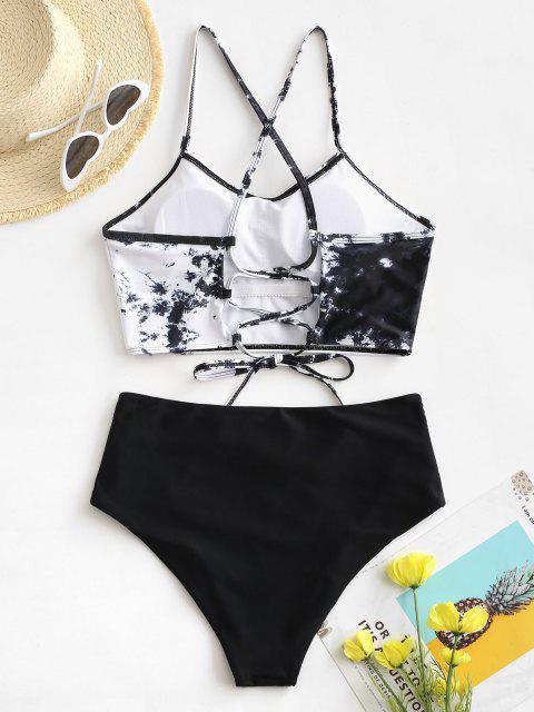 fancy ZAFUL Tie Dye Lace-up Ruched Tankini Swimwear - BLACK XL Mobile