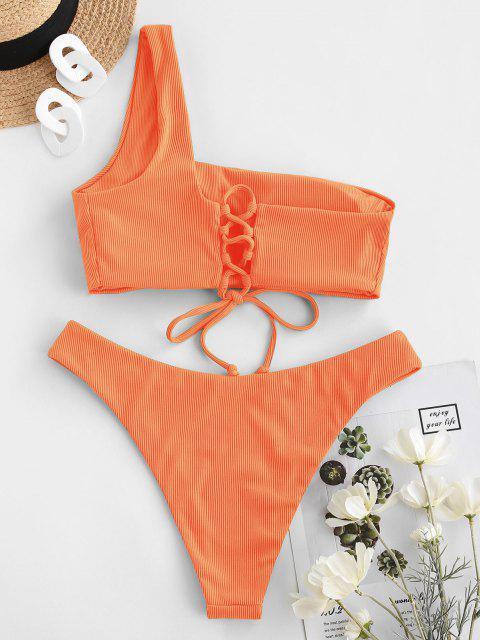 ZAFUL Maillot de Bain Bikini Côtelé à Une Épaule à Lacets - Orange Foncé M Mobile