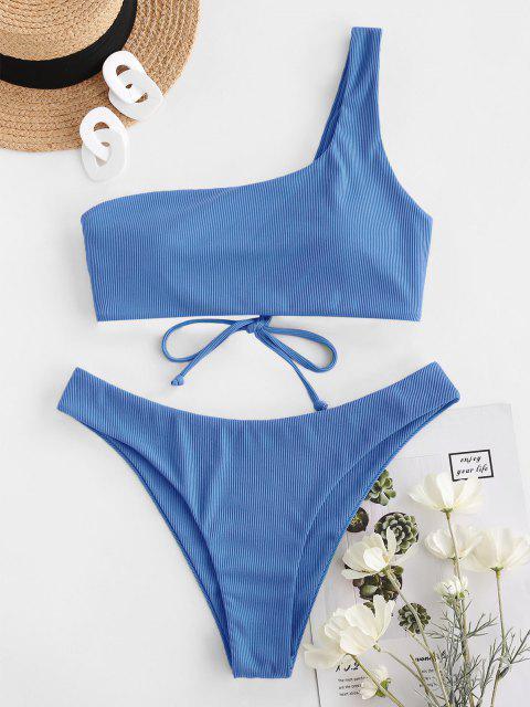 shops ZAFUL Ribbed Lace Up One Shoulder Bikini Swimwear - BLUE L Mobile