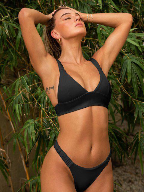 affordable ZAFUL Elasticated Straps Ribbed Bikini Swimwear - BLACK S Mobile