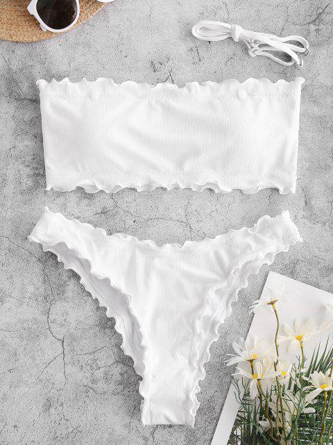 ZAFUL Costume da Bagno Bikini a Fascia a Costine con Orlo a Forma di Lattuga - Bianca M Mobile