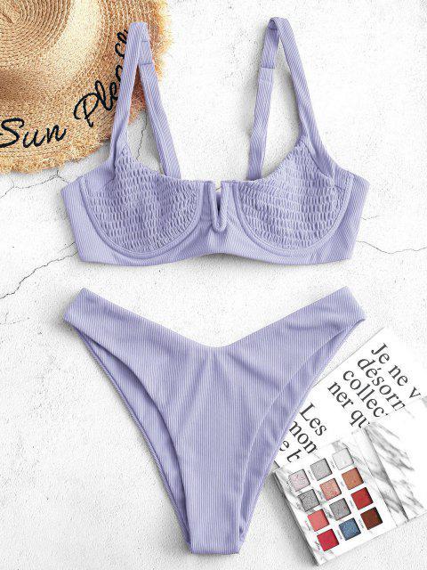 ZAFUL Bikini Acanalado con Aros - purpúreo claro S Mobile