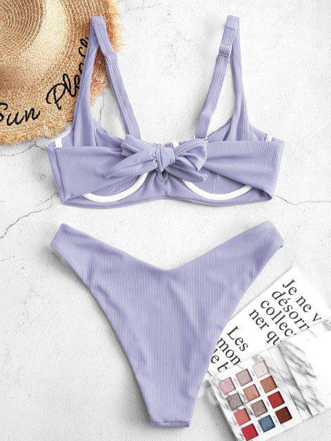 shops ZAFUL Ribbed Underwire Smocked Balconette Bikini Swimsuit - LIGHT PURPLE L Mobile