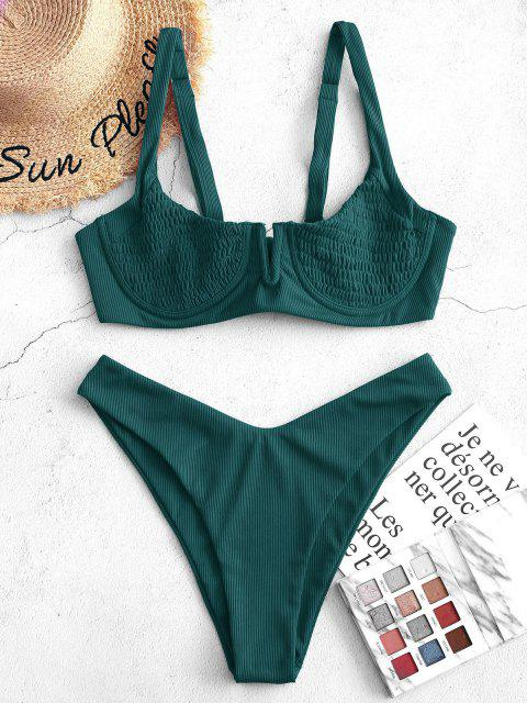 outfits ZAFUL Ribbed Underwire Smocked Balconette Bikini Swimsuit - DEEP GREEN M Mobile